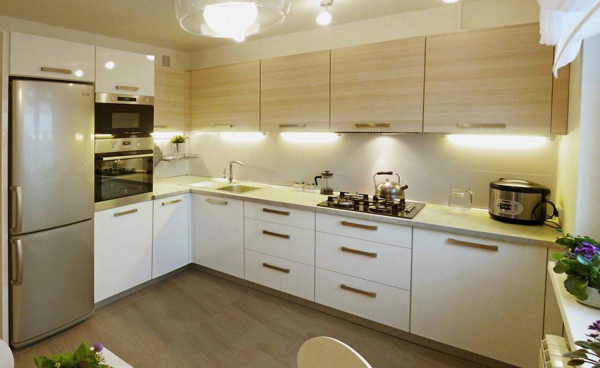 г-образная кухня площадью 12 метров