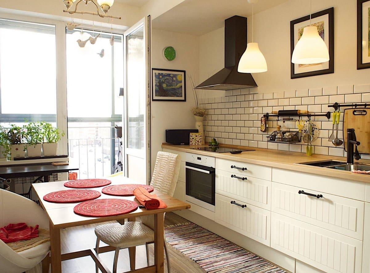 кухня 12 метров с выходом на балкон