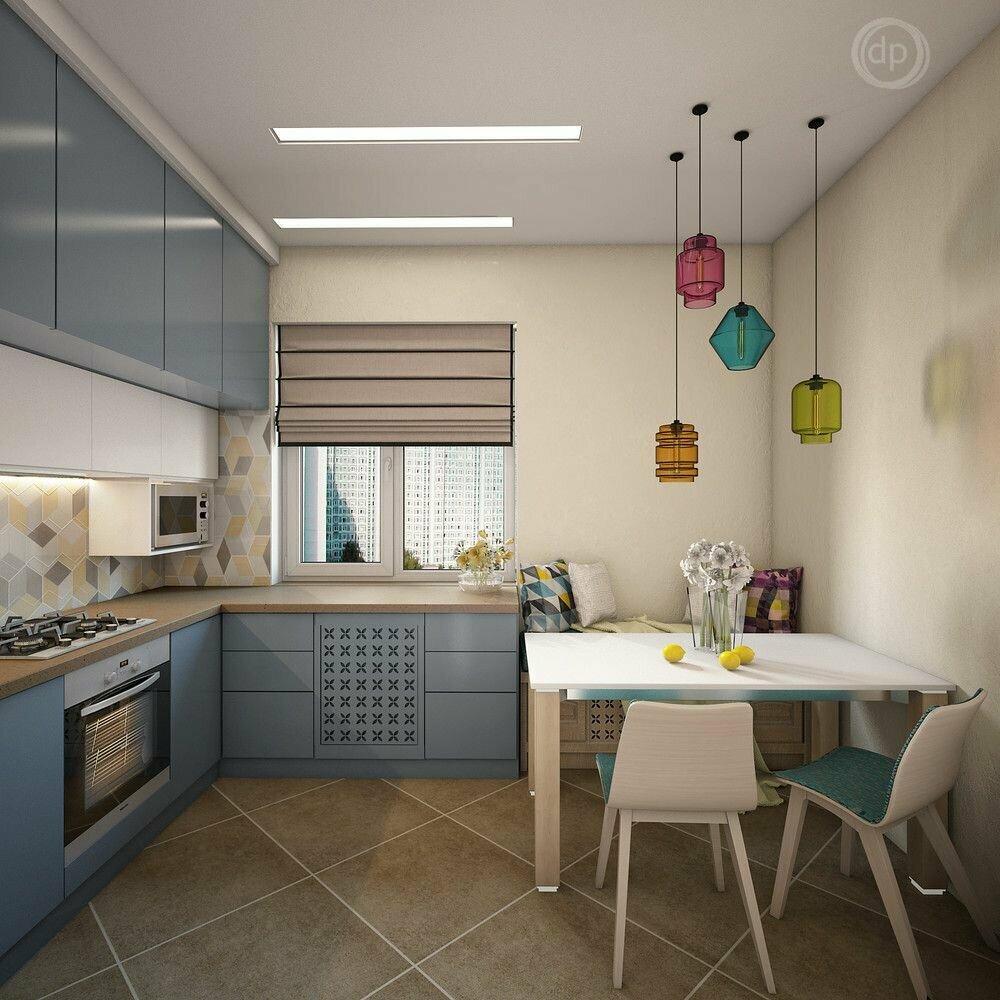 прямоугольная кухня 12 метров