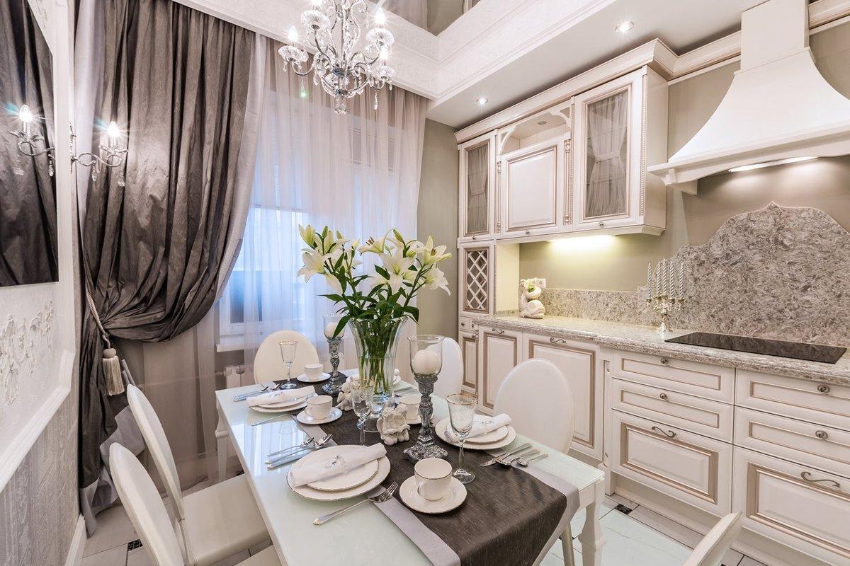 Кухня 12 метров в классическом стиле