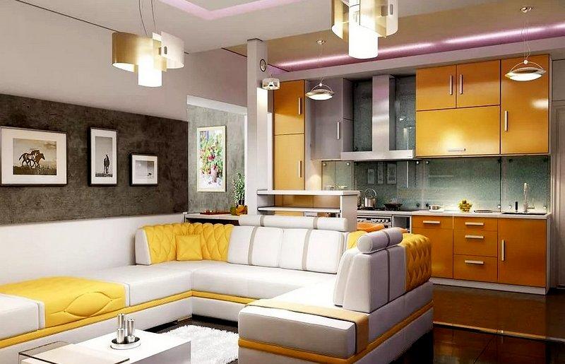 просторная кухня студия