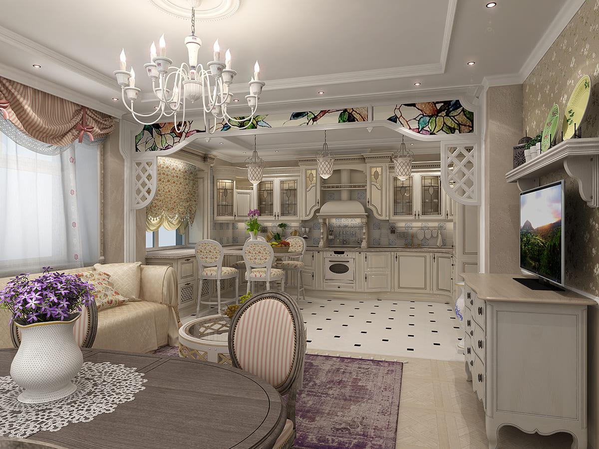 классический дизайн кухни гостиной 25 метров