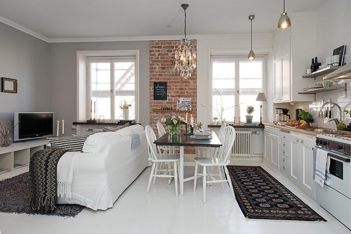 кухня гостиная 25 метров в скандинавском стиле