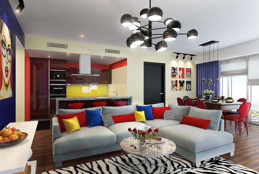 кухня гостиная 25 метров в стиле поп арт