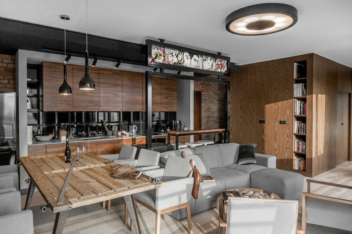 кухня гостиная 25 метров в стиле лофт