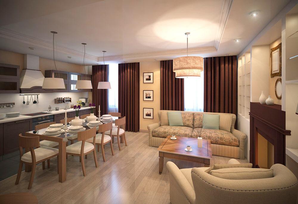 стиль минимализм в прямоугольной кухне-гостиной