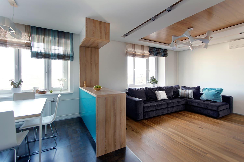 кухня-гостиная 25 метров в минималистичном стиле