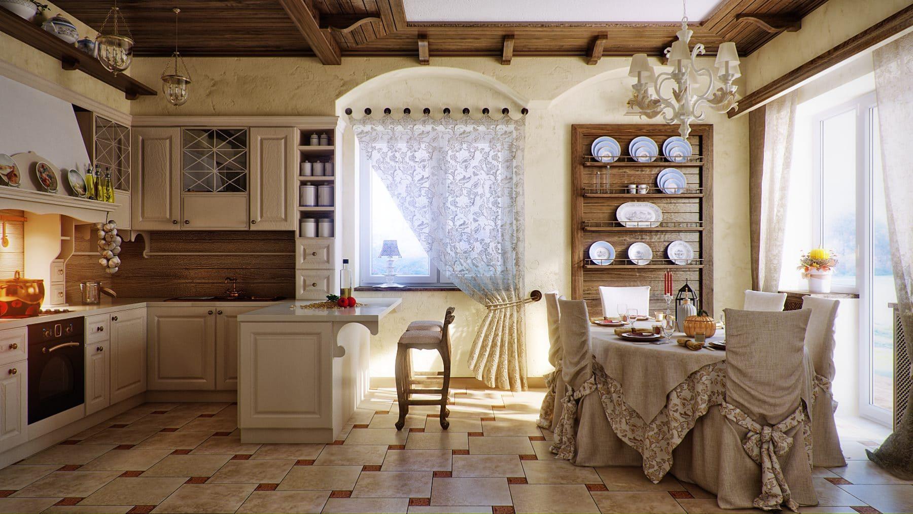 русский стиль оформления кухни-гостиной