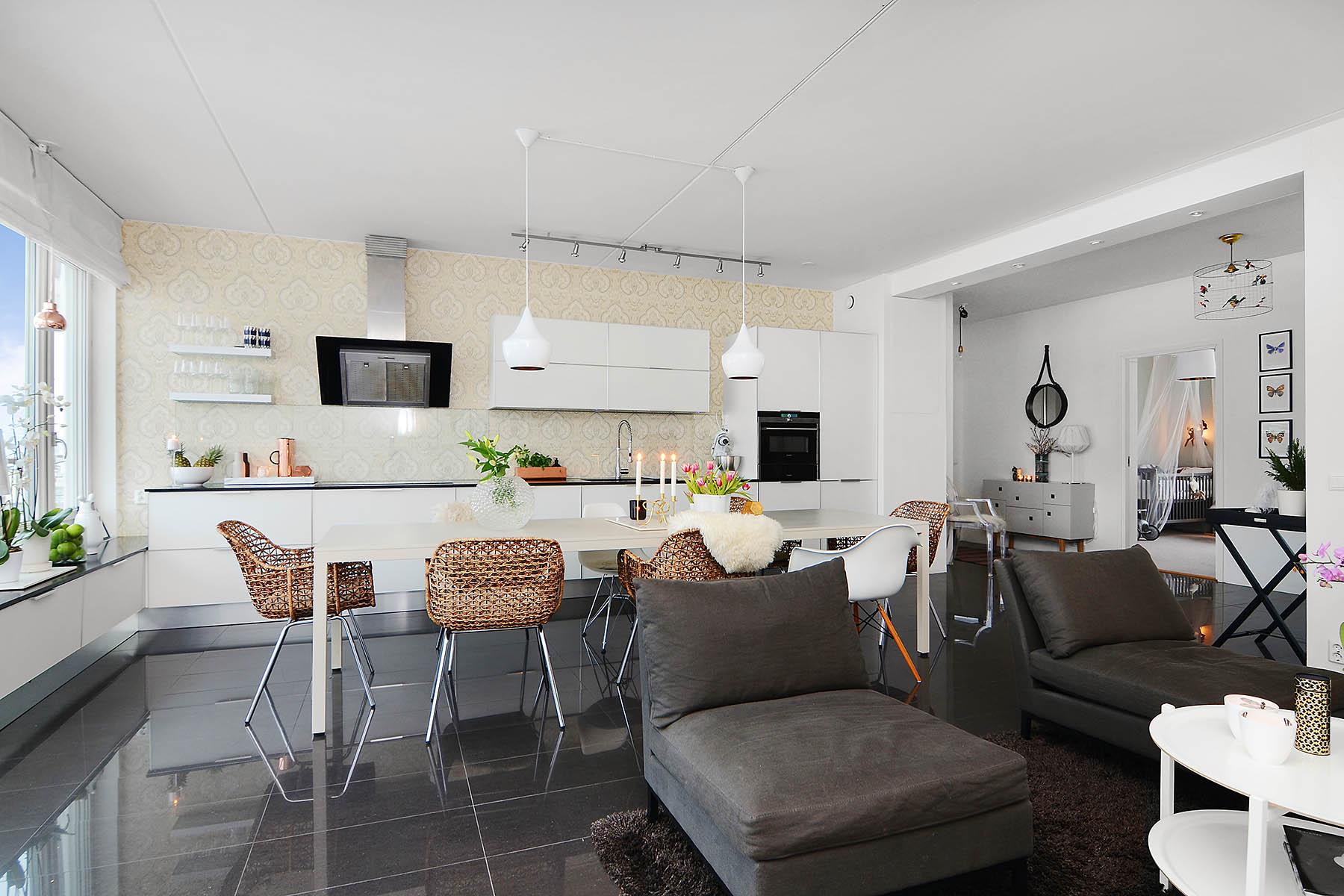 кухня-гостиная 25 метров в скандинавском стиле
