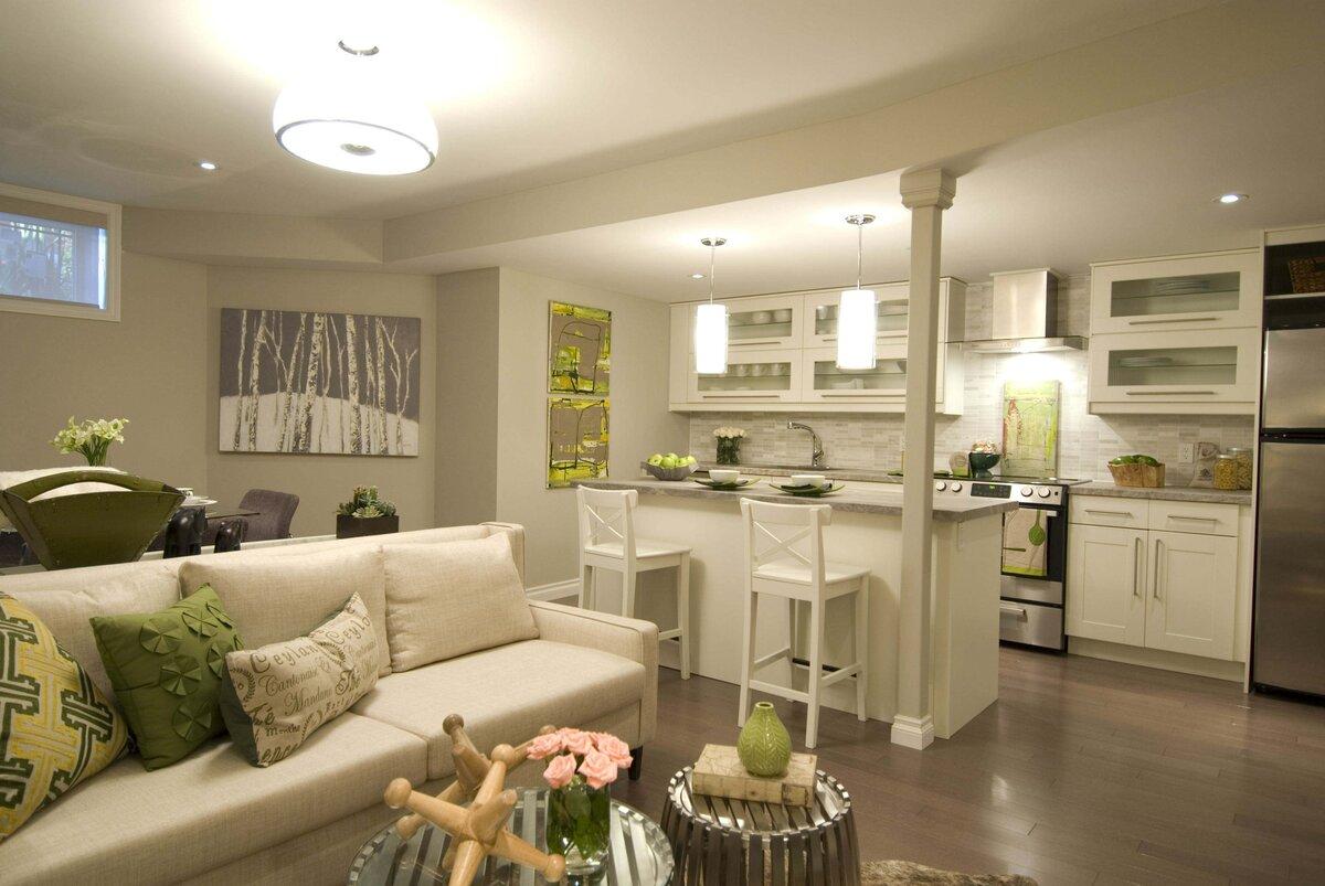 кухня-гостиная 25 метров в экологичном стиле