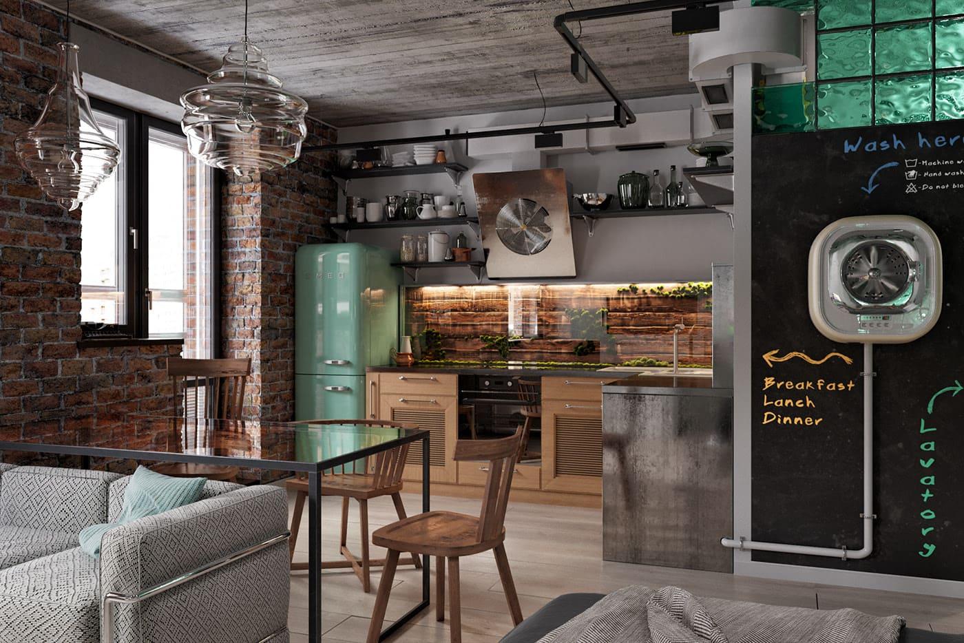 кухня-гостиная 25 метров в стиле лофт