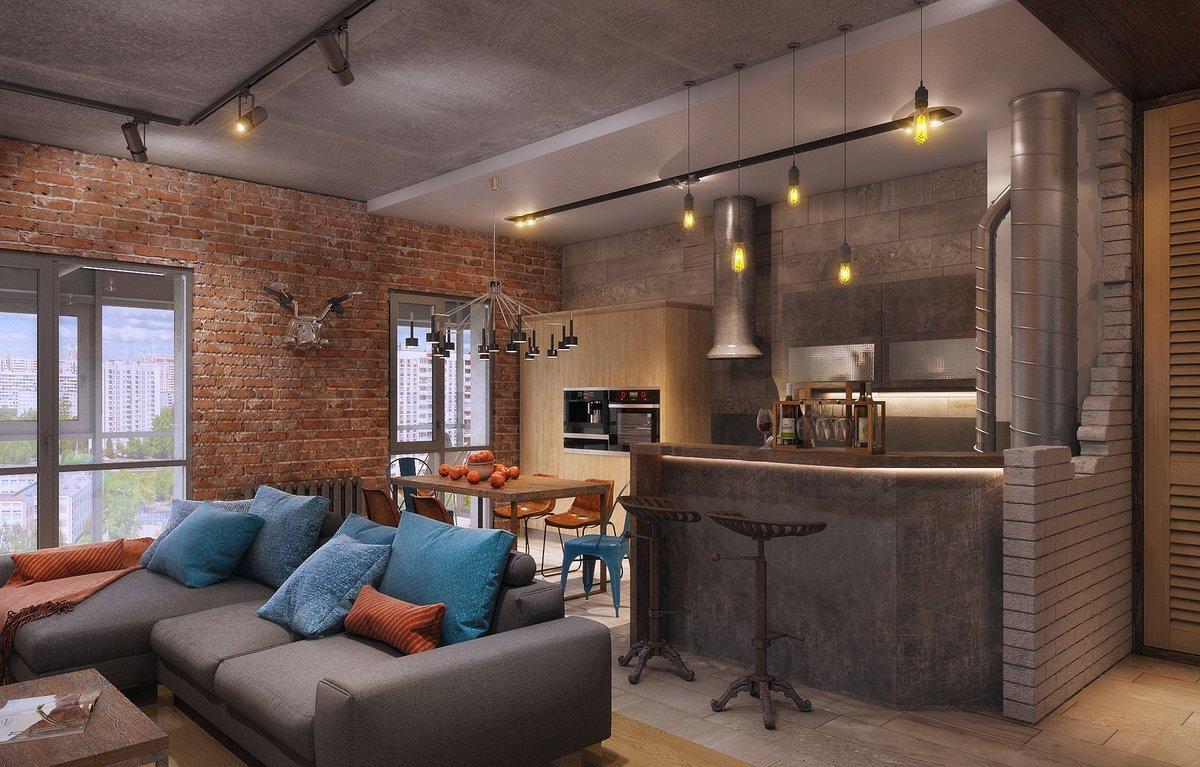 25-метровая кухня-гостиная в стиле лофт