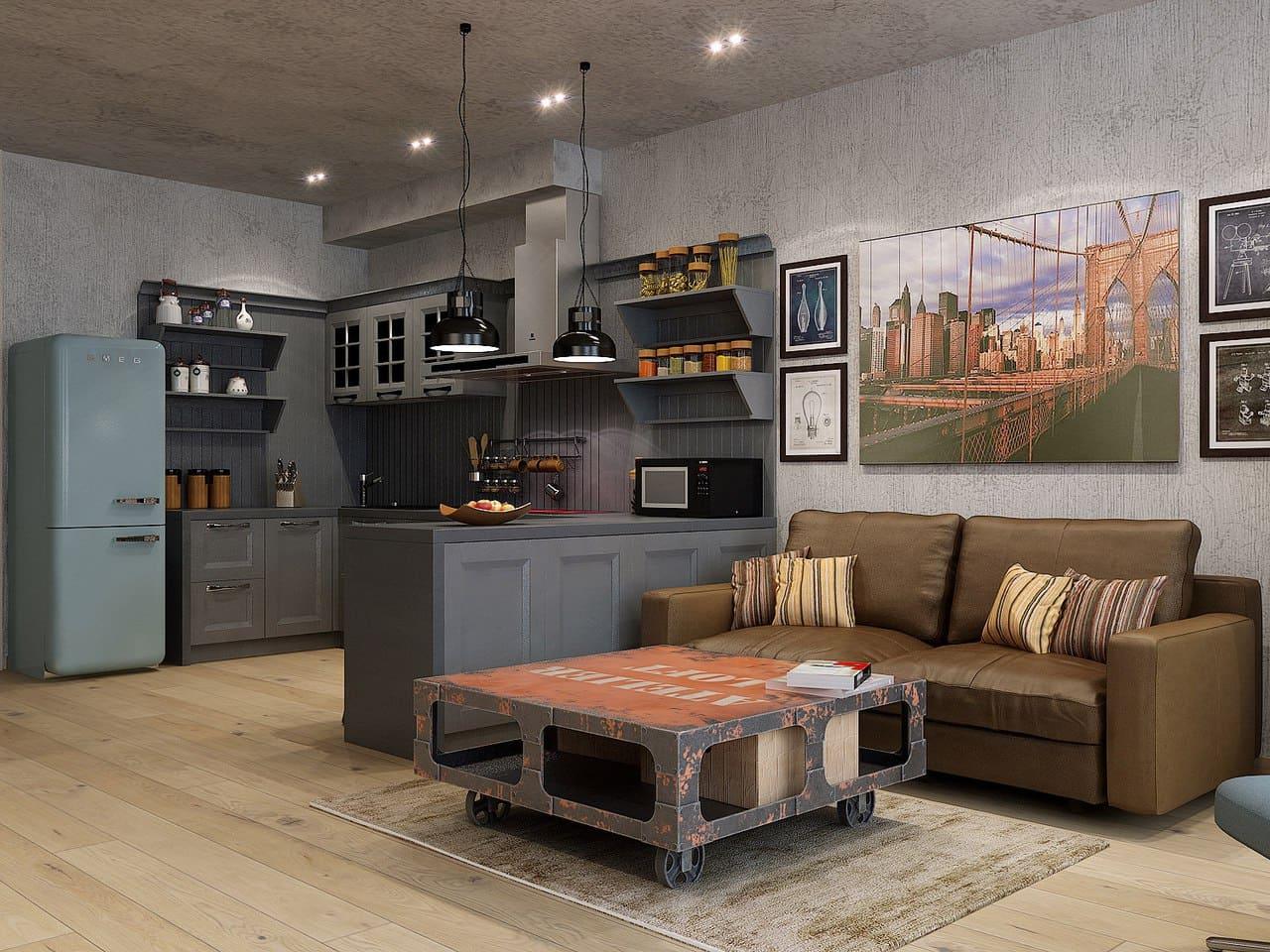 оформление кухни-гостиной в стиле лофт
