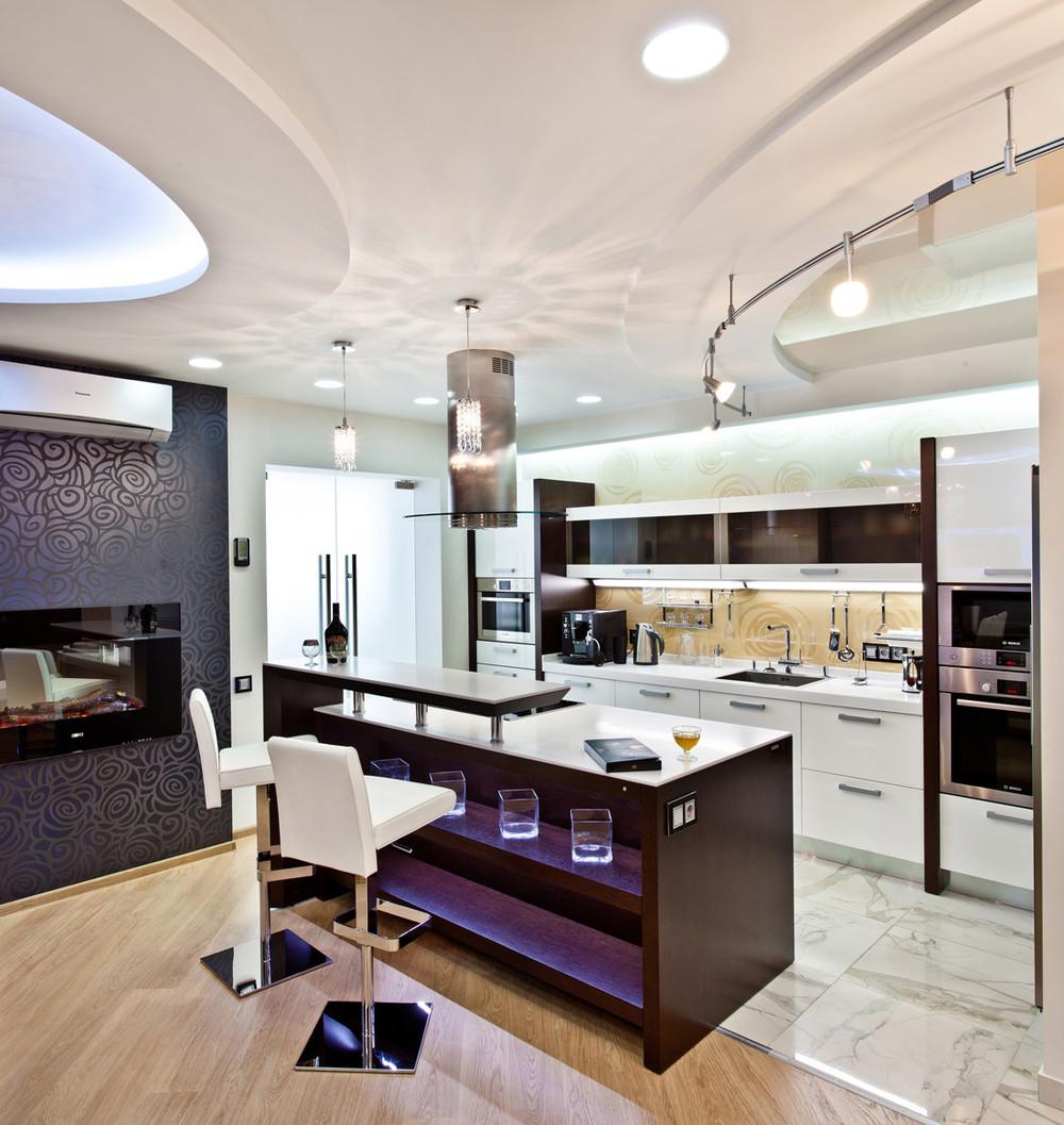 мебель для зонирования кухни-гостиной 25 метров