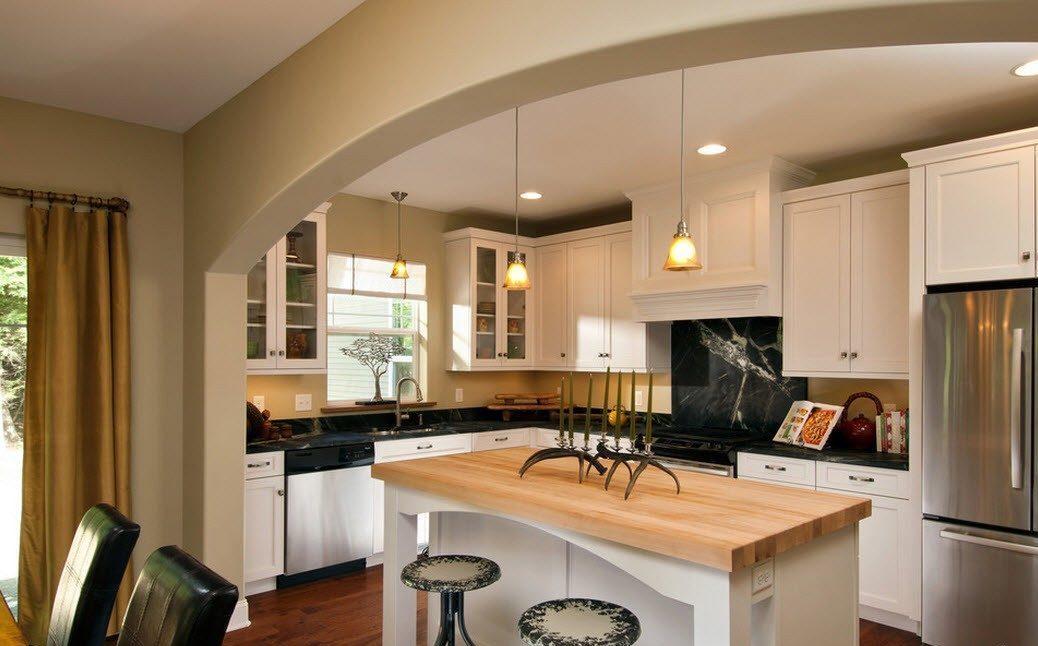 арка в качестве зонирования кухни-гостиной