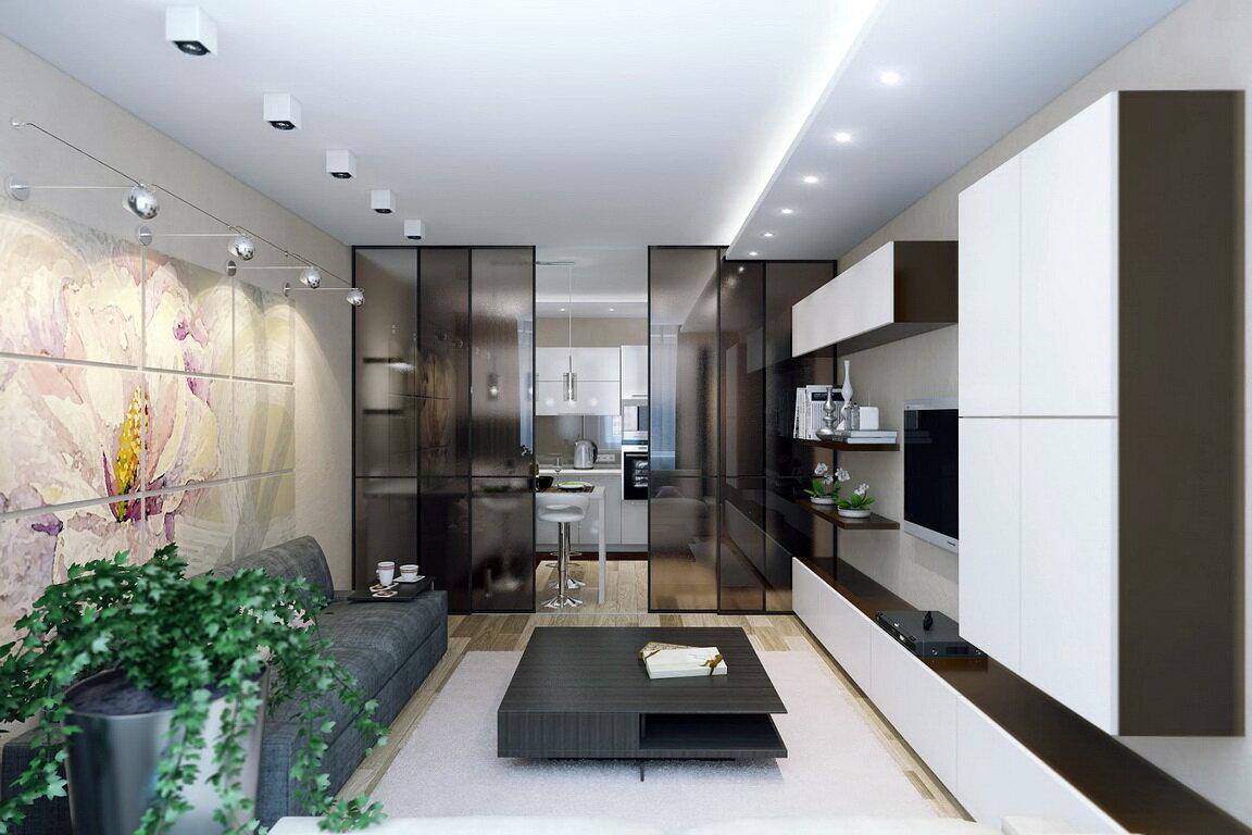 перегородка для зонирования кухни-гостиной 25 метров