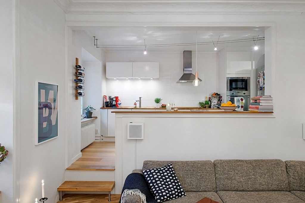 подиум для зонирование кухни-гостиной 25 метров
