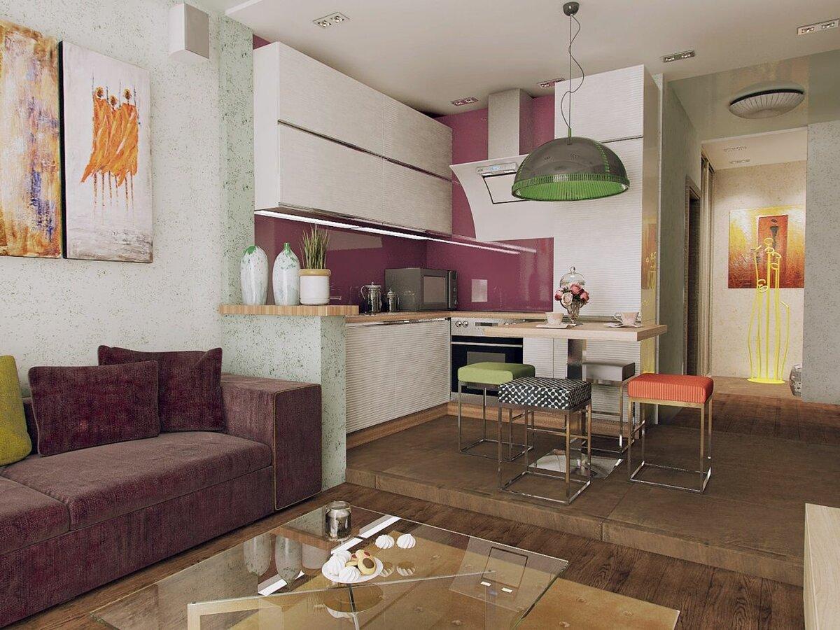 зонирование кухни-гостиной 25 метров подиумом