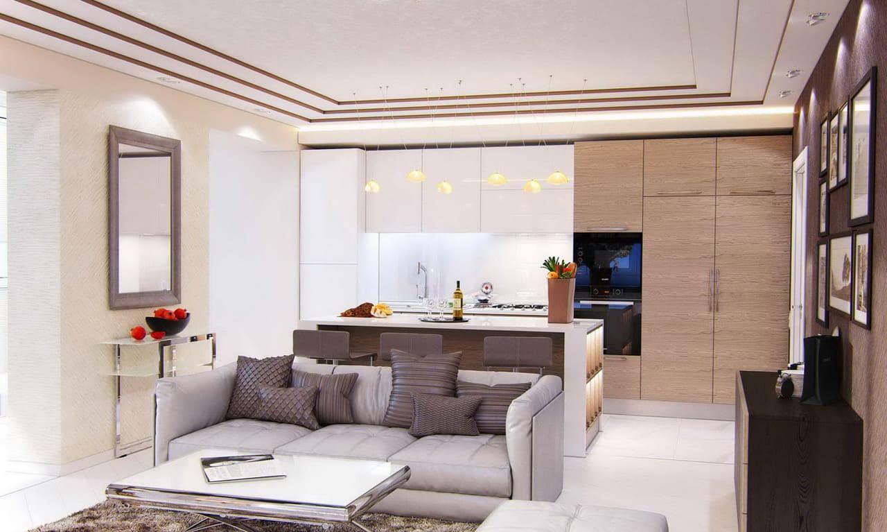 полный снос стены для объединения кухни и гостиной