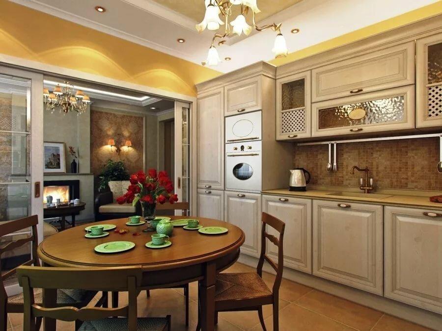 круглый стол для уюта в кухне-гостиной 25 метров