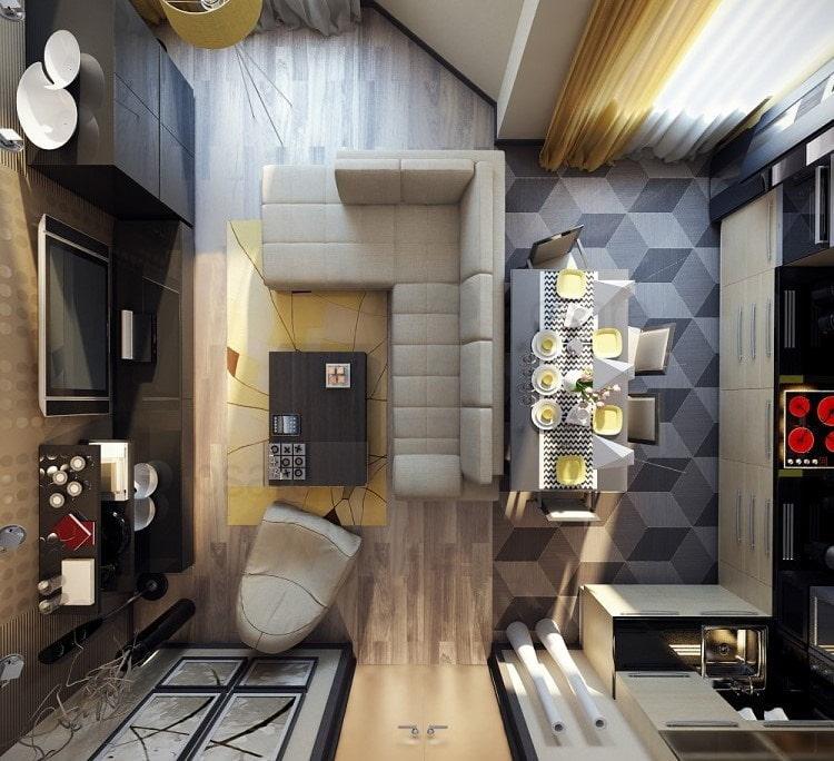 планировка квадратной кухни-гостиной 25 метров