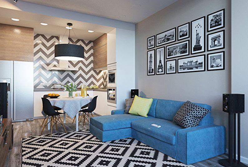 кухня гостиная 25 метров с черно-белыми акцентами