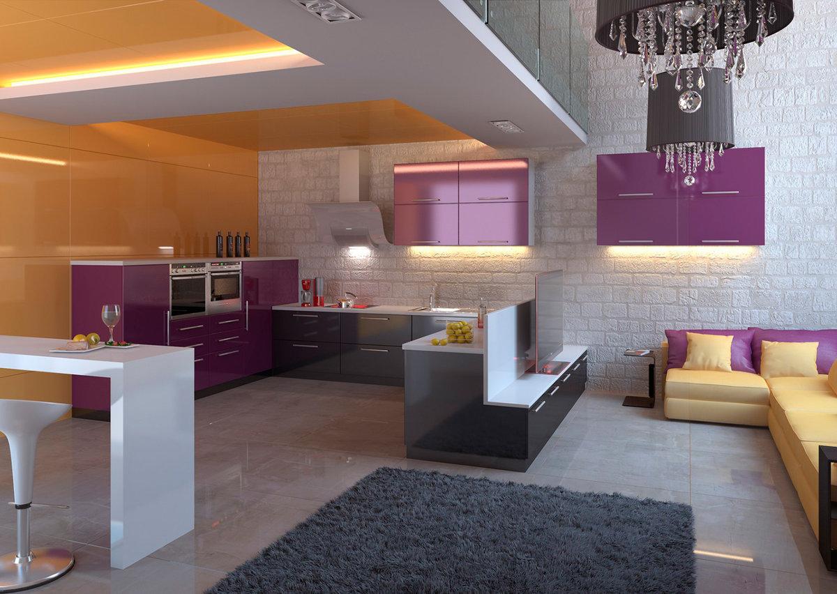 футуристичная кухня гостиная 25 метров