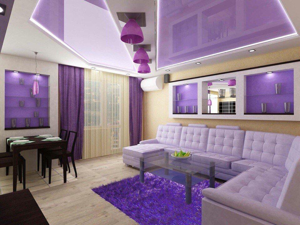 фиолетовый дизайн кухни гостиной 25 метров