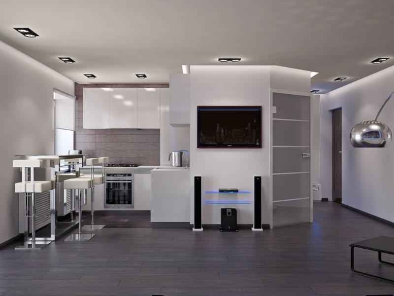 кухня гостиная 25 метров в стиле хай тек