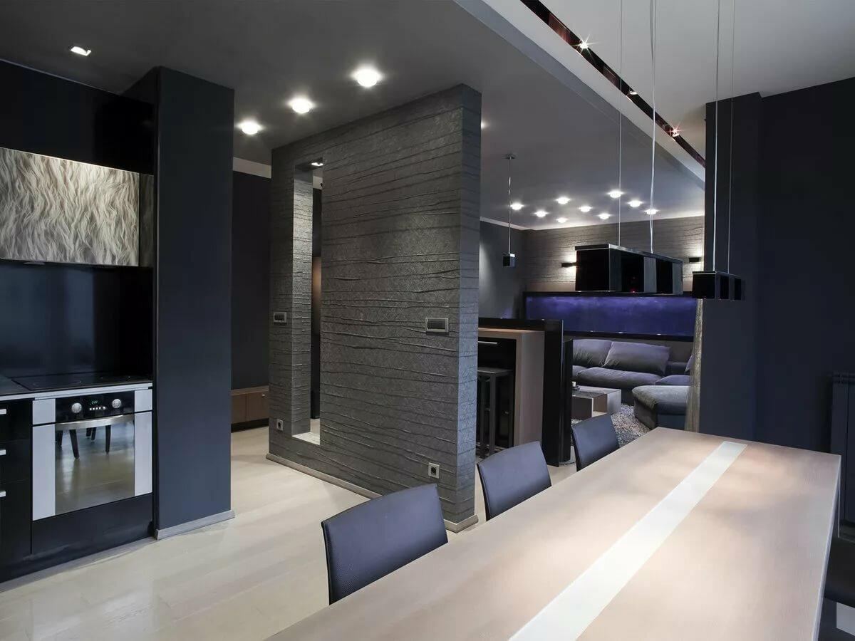 кухня гостиная 25 метров в стиле hi-tech