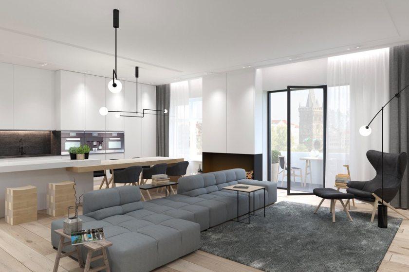 кухня гостиная 25 метров в стиле минимализм