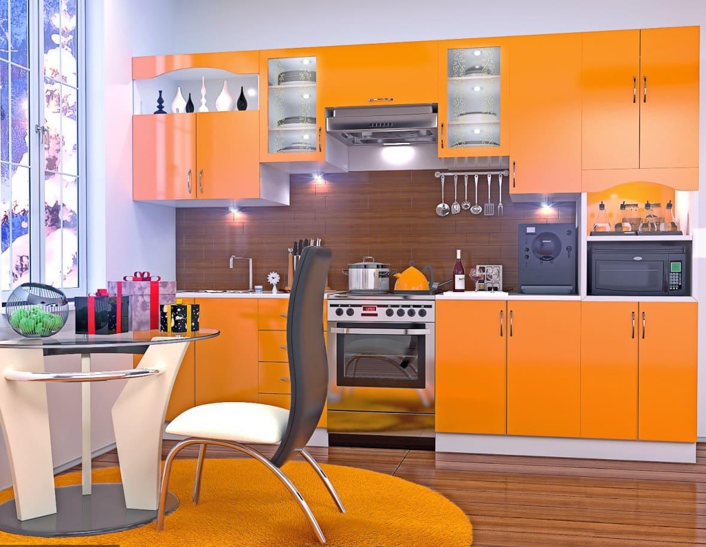 апельсиновый оттенок оранжевой кухни
