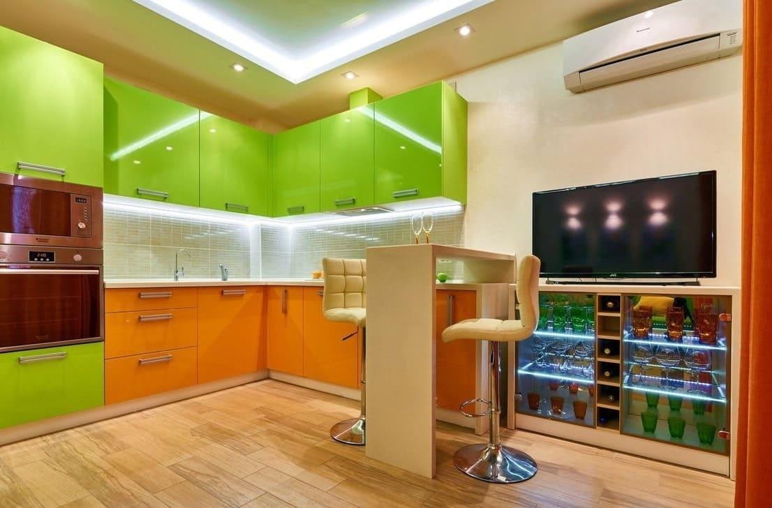 кухня оранжевая с зеленым