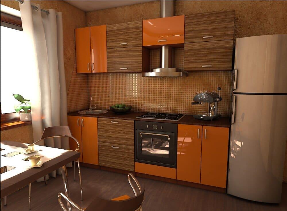 небольшая оранжево-коричневая кухня