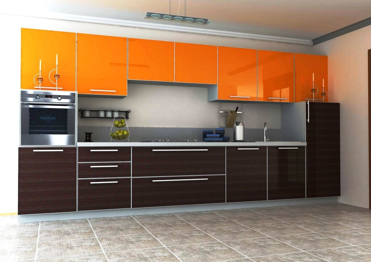 темно-коричневая с оранжевым кухня
