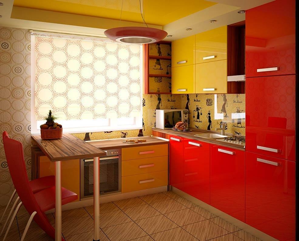кухня оранжевая с красным