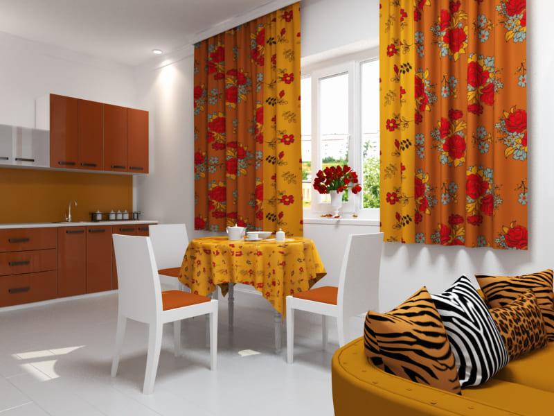 оранжевые шторы с рисунком