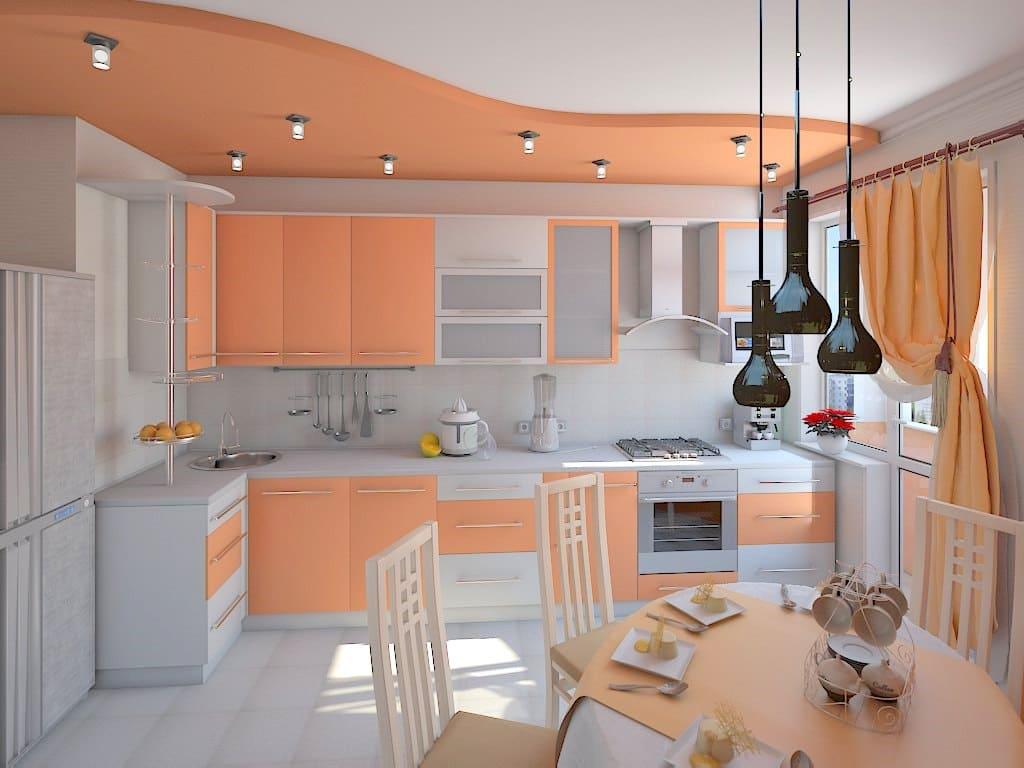двухуровневый потолок на оранжевой кухне