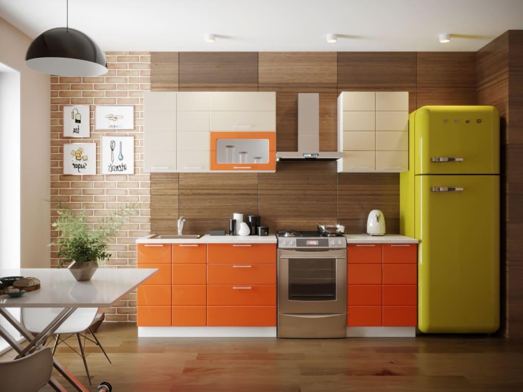 оранжевые фасады кухни в стильном интерьере
