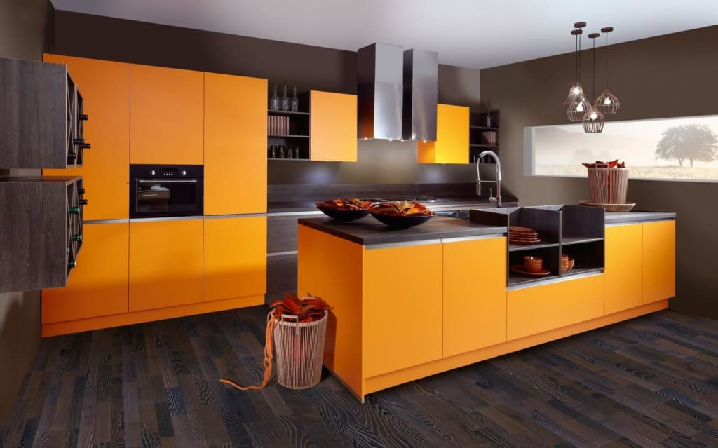 оранжевая кухня в стиле хай тек