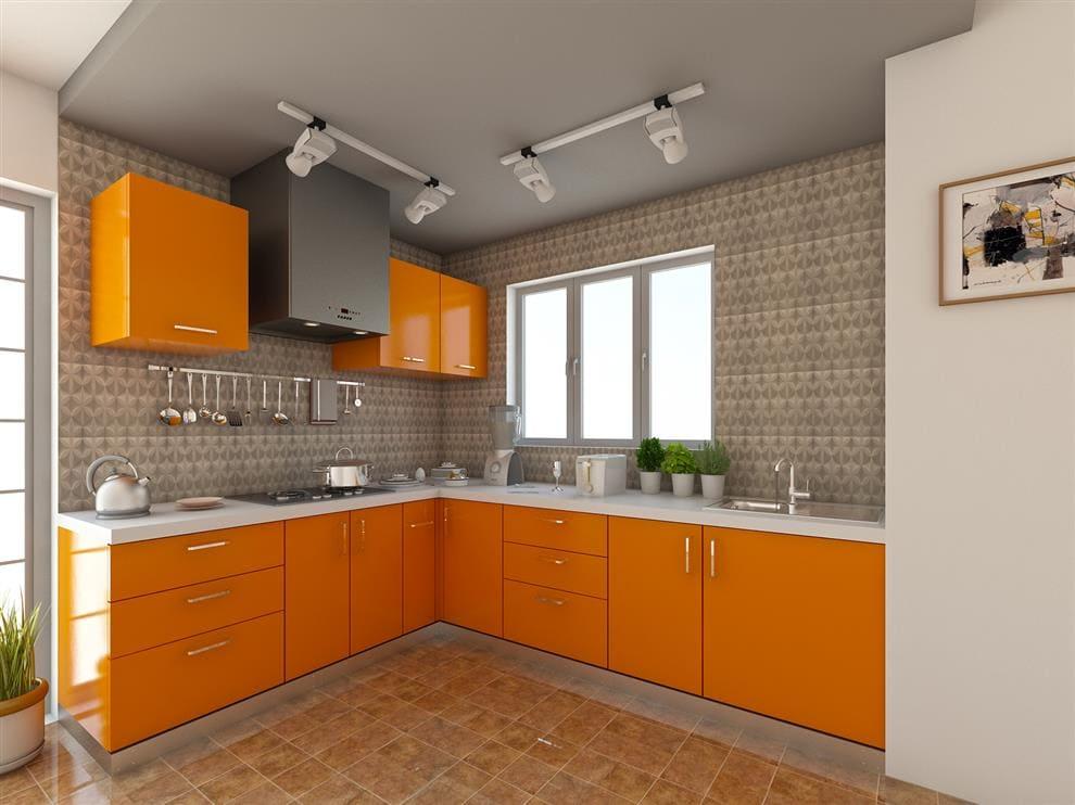 оранжевые фасады на светлой кухне