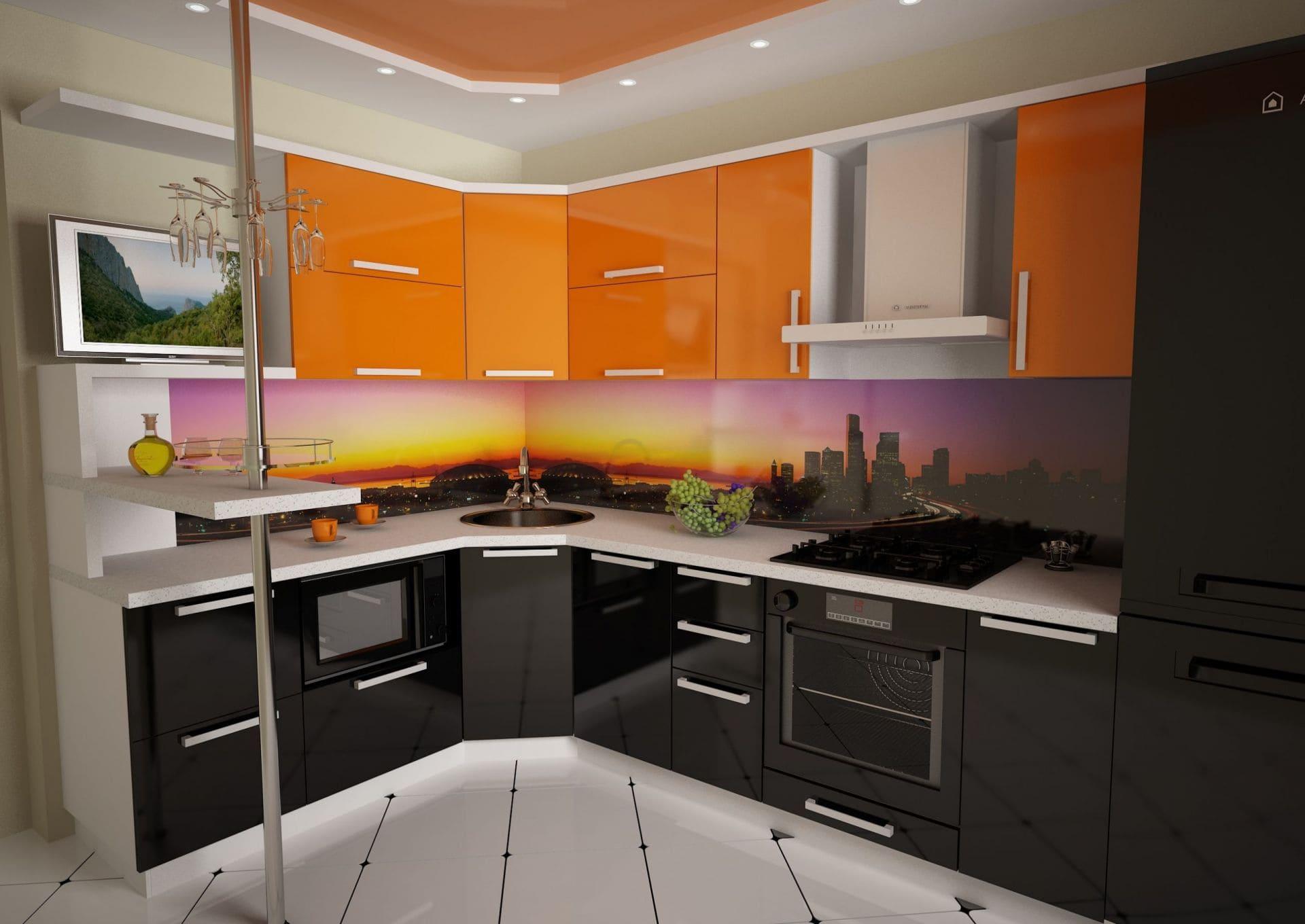 стильная черно-оранжевая кухня