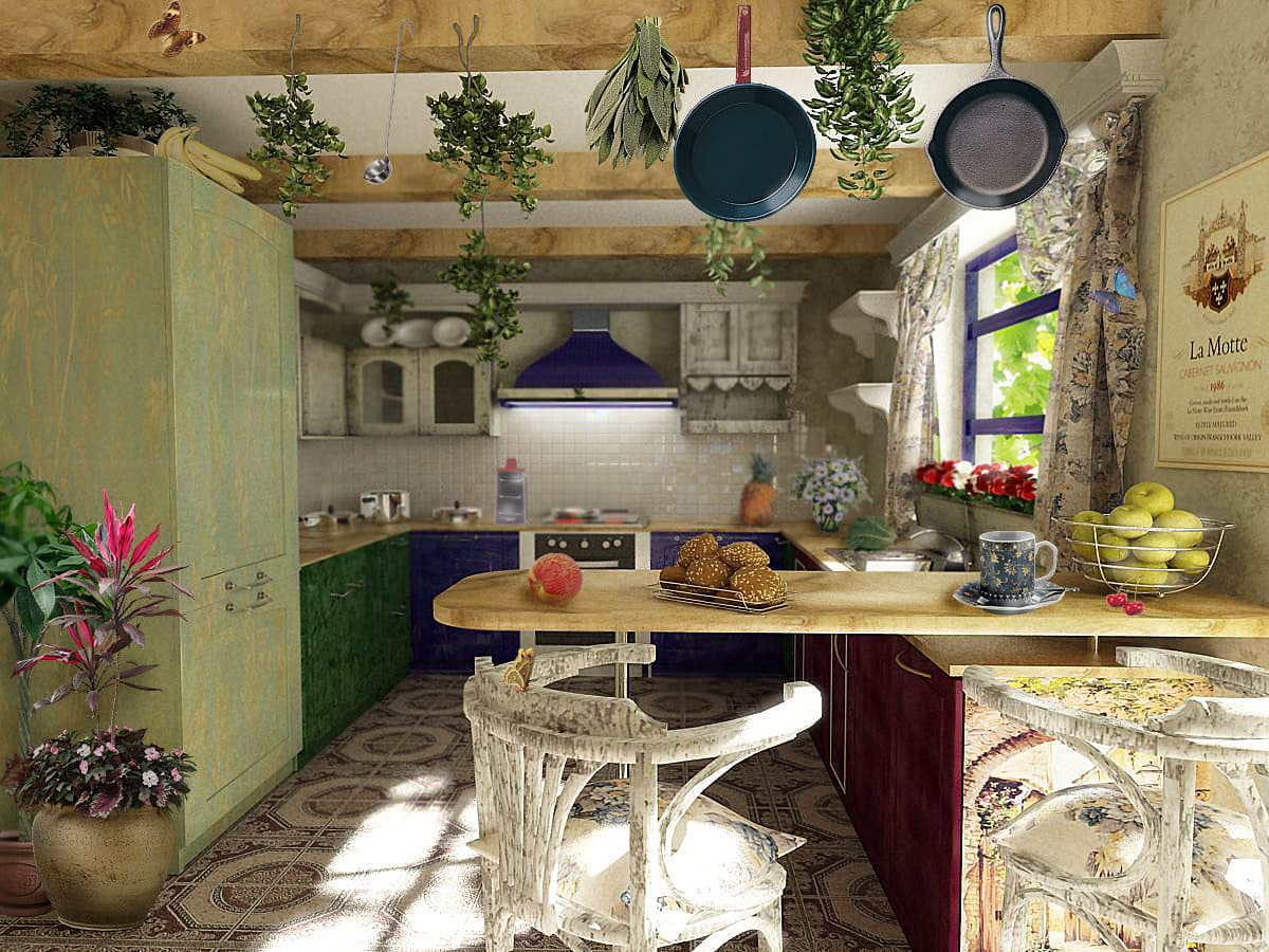 интересная дачная кухня в стиле прованс