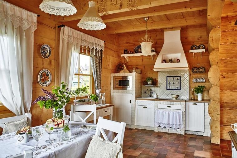 русский стиль на кухне деревянной дачи