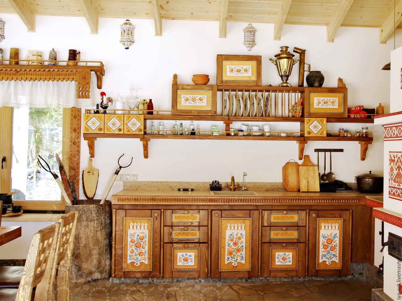 красивая кухня на даче в русском стиле