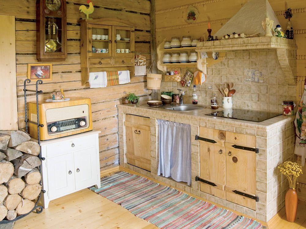 дачная кухня в линейной планировке