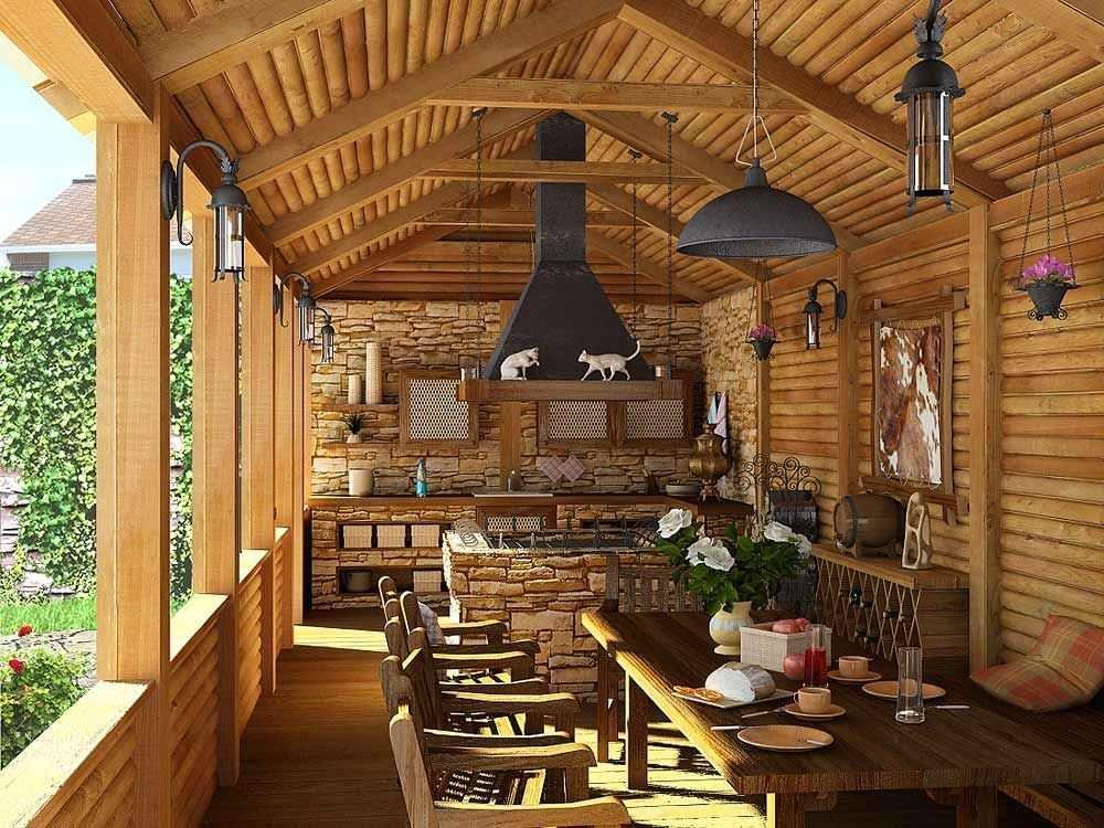 кухня на даче на веранде