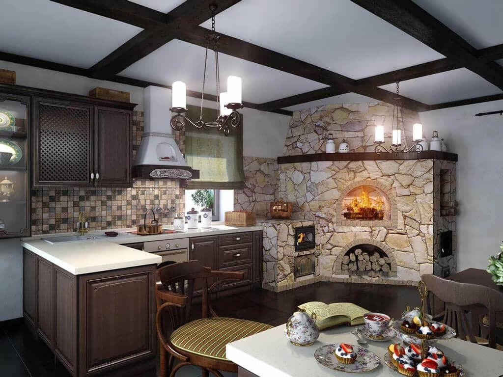 дачная кухня отделка печи камнем