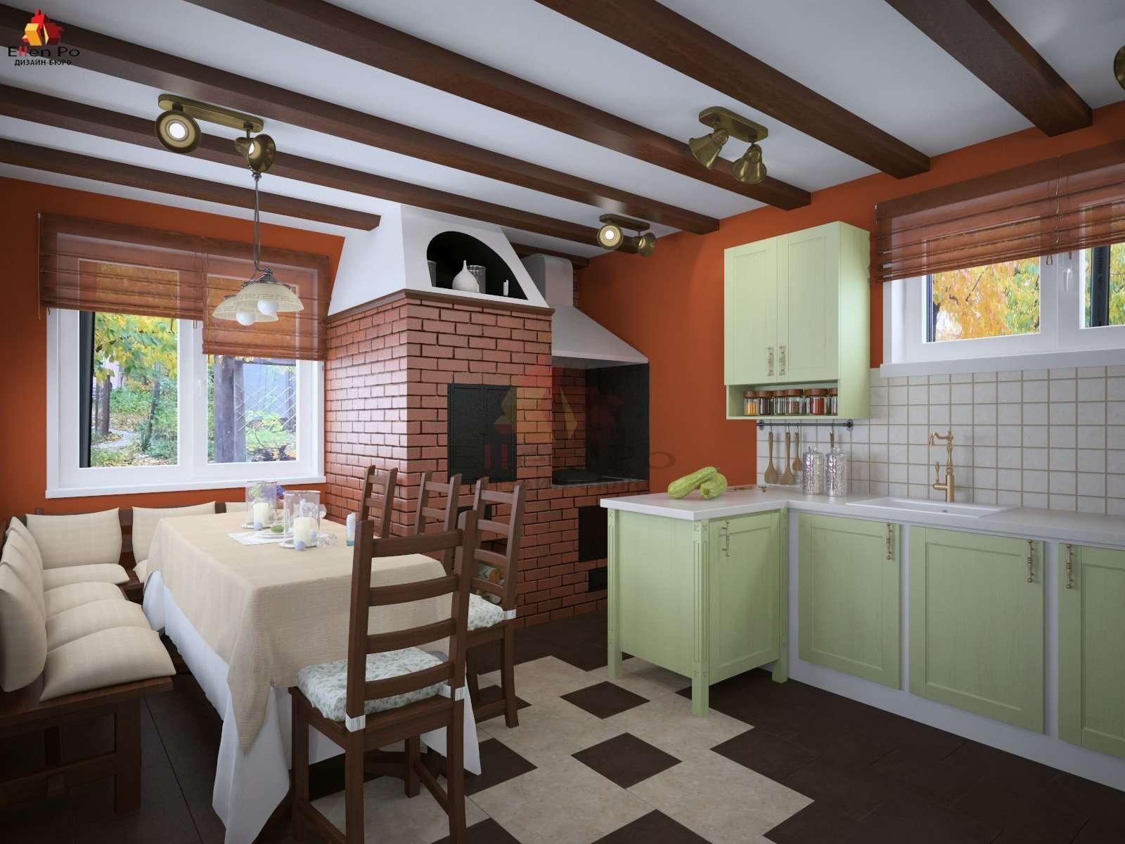 салатовая кухня на даче