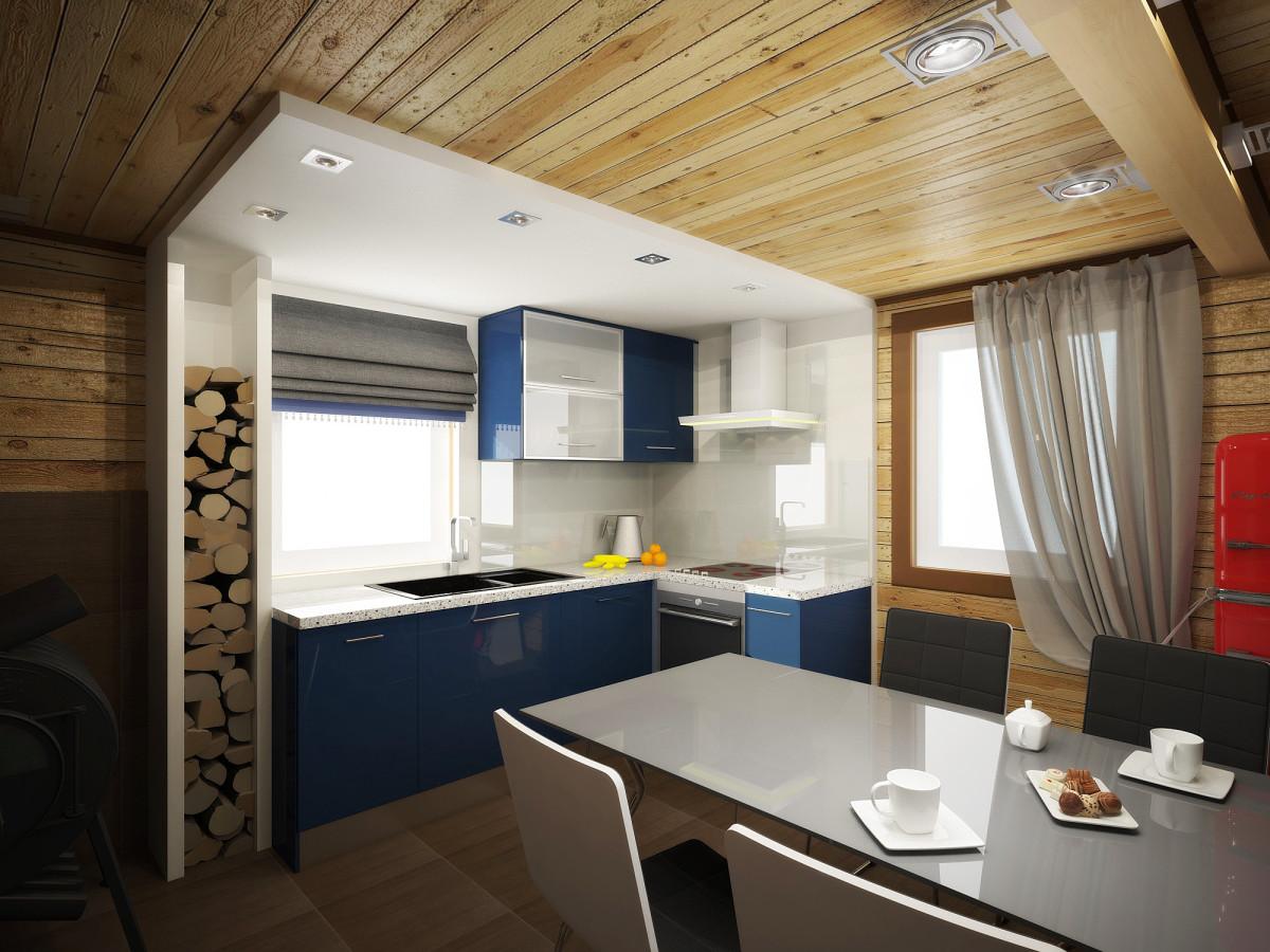 красивый дизайн кухонного пространства на даче